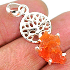 5.93cts natural orange mexican fire opal 925 silver tree of life pendant r91500