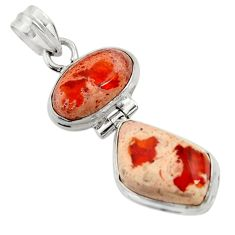 14.72cts natural orange mexican fire opal 925 sterling silver pendant d43482