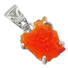 7.98cts natural orange mexican fire opal 925 sterling silver pendant r43294