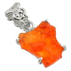 8.01cts natural orange mexican fire opal 925 sterling silver pendant r43295