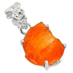 7.64cts natural orange mexican fire opal 925 sterling silver pendant r43298