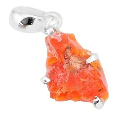 5.28cts natural orange mexican fire opal 925 sterling silver pendant r91567