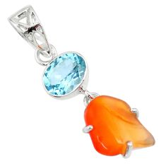 9.41cts natural orange mexican fire opal blue topaz 925 silver pendant r71938
