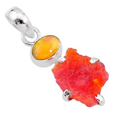 6.36cts natural orange mexican fire opal ethiopian opal 925 silver pendant t7167