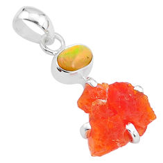 6.94cts natural orange mexican fire opal ethiopian opal 925 silver pendant t7170