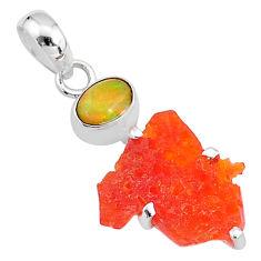 6.92cts natural orange mexican fire opal ethiopian opal 925 silver pendant t7180