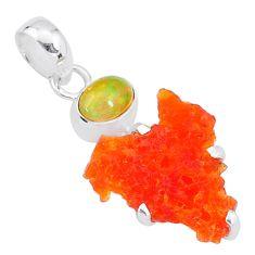 7.26cts natural orange mexican fire opal ethiopian opal 925 silver pendant t7188