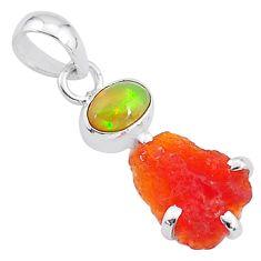 6.62cts natural orange mexican fire opal ethiopian opal 925 silver pendant t7193
