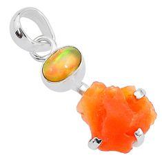7.80cts natural orange mexican fire opal ethiopian opal 925 silver pendant t7198