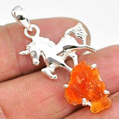 5.49cts natural orange mexican fire opal fancy 925 silver horse pendant r91496