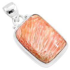 15.05cts natural orange scolecite high vibration crystal silver pendant r94713