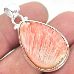 15.58cts natural orange scolecite high vibration crystal silver pendant t42505