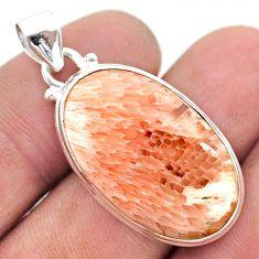 16.20cts natural orange scolecite high vibration crystal silver pendant t42507