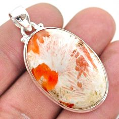 21.48cts natural orange scolecite high vibration crystal silver pendant t42511