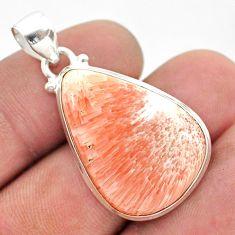 17.18cts natural orange scolecite high vibration crystal silver pendant t42514