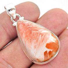 18.68cts natural orange scolecite high vibration crystal silver pendant t42519