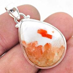 17.18cts natural orange scolecite high vibration crystal silver pendant t42530
