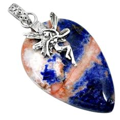 Clearance Sale- 27.81cts natural orange sodalite 925 silver angel wings fairy pendant r90854