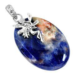 27.81cts natural orange sodalite 925 silver angel wings fairy pendant r90858