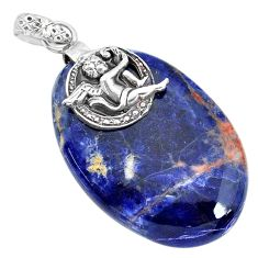 Clearance Sale- 33.88cts natural orange sodalite 925 silver cupid angel wings pendant r90848