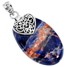 33.81cts natural orange sodalite 925 sterling silver heart pendant r90856