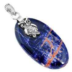 27.81cts natural orange sodalite 925 sterling silver owl pendant jewelry r90846