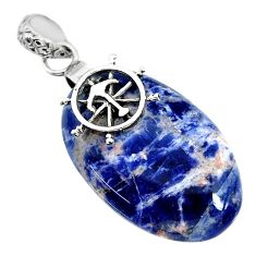 Clearance Sale- 23.23cts natural orange sodalite 925 sterling silver pendant jewelry r90841