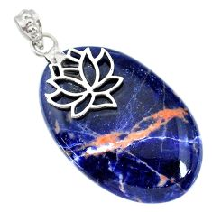 36.02cts natural orange sodalite 925 sterling silver pendant jewelry r90842
