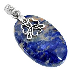 27.81cts natural orange sodalite 925 sterling silver pendant jewelry r90853