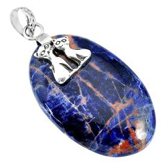 34.51cts natural orange sodalite 925 sterling silver two cats pendant r90849