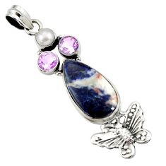 Clearance Sale- 18.94cts natural orange sodalite amethyst 925 silver butterfly pendant d44694