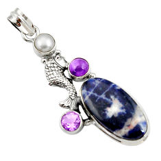 Clearance Sale- 20.86cts natural orange sodalite amethyst pearl 925 silver fish pendant d44693