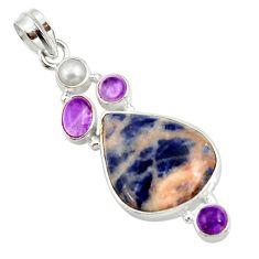 Clearance Sale- 16.54cts natural orange sodalite amethyst pearl 925 silver pendant d44683
