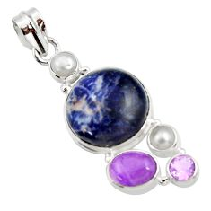 17.55cts natural orange sodalite amethyst pearl 925 silver pendant d44685