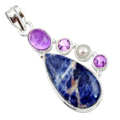 Clearance Sale- 18.70cts natural orange sodalite amethyst pearl 925 silver pendant d44699