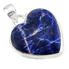 16.20cts natural orange sodalite heart 925 sterling silver pendant r46943