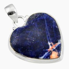 18.15cts natural orange sodalite heart sterling silver pendant jewelry r46942