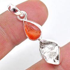 8.44cts natural orange sunstone herkimer diamond 925 silver pendant t49116