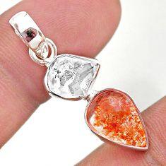 8.46cts natural orange sunstone herkimer diamond 925 silver pendant t49334