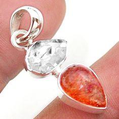 9.27cts natural orange sunstone herkimer diamond 925 silver pendant t49336