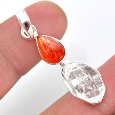 9.25cts natural orange sunstone herkimer diamond fancy 925 silver pendant t49115