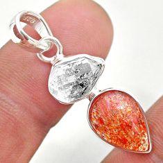 9.41cts natural orange sunstone herkimer diamond fancy 925 silver pendant t49330