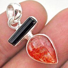 9.41cts natural orange sunstone pear tourmaline raw 925 silver pendant t49327