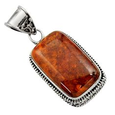 18.79cts natural orange vaquilla agate 925 sterling silver pendant d45134