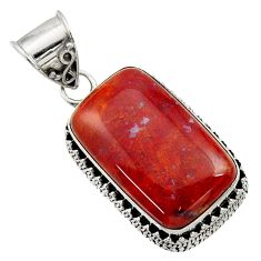 Clearance Sale- 19.60cts natural orange vaquilla agate 925 sterling silver pendant d45138