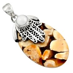 Natural peanut petrified wood fossil silver hand of god hamsa pendant d45542