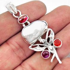 14.41cts natural pearl cornelian (carnelian) 925 silver angel pendant d46741