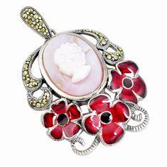 9.91cts natural aqua pearl marcasite enamel 925 silver lady face pendant c16500