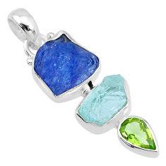 11.74cts natural peridot tanzanite aquamarine raw 925 silver pendant t10801