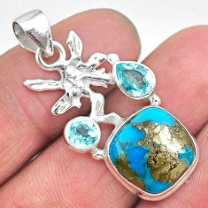 7.97cts natural persian turquoise pyrite silver angel wings fairy pendant t11166